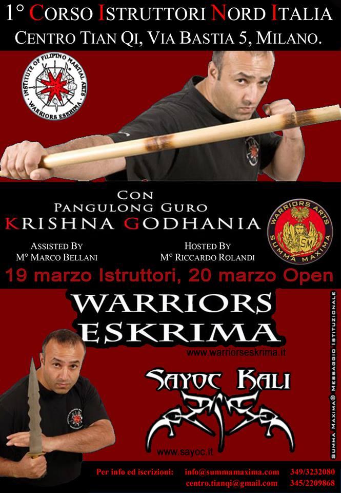 19-20/3/2016: CORSO ISTRUTTORI + OPEN SEMINAR DI WARRIORS ESKRIMA E SAYOC KALI