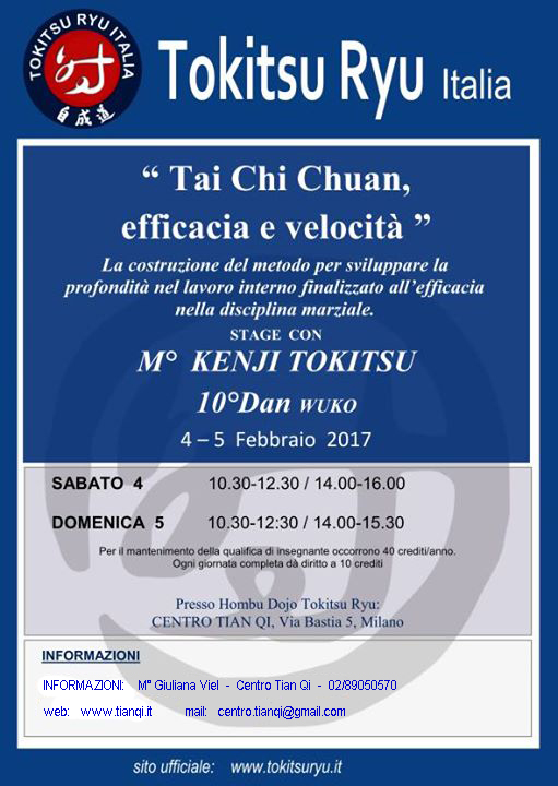 4,5/2/2017: stage internazionale tokitsu ryu