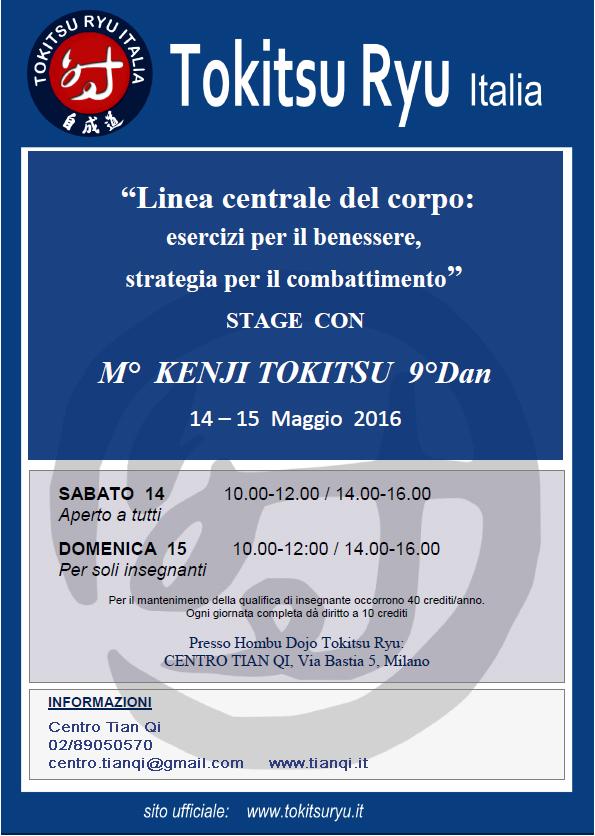 14-15 maggio 2016 - stage internazionale tokitsu ryu: